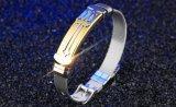 Einfache Armbänder für Mann-Ineinander greifen-Brücke-Band-Umkreis-Schwarz-/Goldfarben-Edelstahl-männliches Verpackungs-Armband-Geschenk