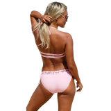 Moda Rosa Sexy Lace Up Halter Bralette calções de Bikini
