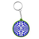 La promotion de bonne qualité double faces gaufré de forme ronde en PVC souple en caoutchouc des dons de la chaîne trousseau de clés