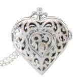 Vigilanza Pocket a forma di del cuore vuoto d'argento del quarzo di modo