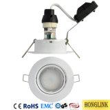 Weiße IP20 GU10 kippbare LED unten helle Stahlvorrichtung