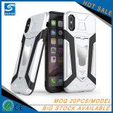 Couverture de téléphone de cas de blanc d'ours de fer avec le support de véhicule pour le cas de l'iPhone X
