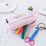 Più nuova cassa di matita sveglia del sacchetto dell'organizzatore di memoria della cancelleria del sacchetto della matita della tela di canapa di Pink&Green per i rifornimenti di banco