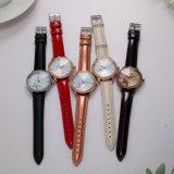 Reloj de señoras de los cuartos de galón de la correa de cuero del ODM del reloj de la promoción (Wy-054D)