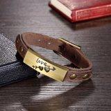 Justierbares Liebes-Leder-Armband mit Legierungs-Haken für Mann-Frauen