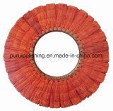 Roda de lustro lustrando do sisal vermelho da via aérea para o metal