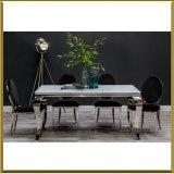 Ткань нержавеющей стали и бархата обедая таблицы Луис серебра крома самомоднейшей французской классицистической черноты столовой белая стеклянная обедая серебр стулов