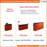 12V100AH Proveedor de terminales de batería solar Gel delantero para Telecom