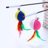 Peluche de varilla de bola de plumas Cat juguetes para los gatitos jugar
