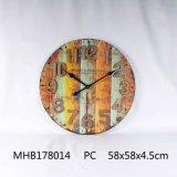 Home Decor Metal et le MDF Horloge murale en finition bleue