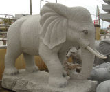 Natural Grey of granites Stone Animal statue OF Elephant for guards