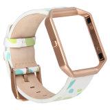 Cinturino floreale del cuoio genuino di stampa con il blocco per grafici per la fiammata di Fitbit