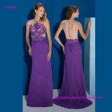 Sleeveless SpitzeApplique und transparente Rückseite eine Zeile Abend-Kleid