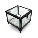 Retro piccolo contenitore di monili di vetro quadrato nero