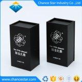 Feuille de papier noir Logo personnalisé Boîte en carton pour bouteille