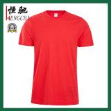 Le T-shirt des hommes promotionnels bon marché de coton de collet rond jaune fait sur commande