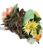 Цветочный горшок сада плоского ротанга декоративный