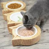 Alimentador de madeira pequeno do gato bacia feita sob encomenda do logotipo da única