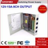 alimentazione elettrica di commutazione della macchina fotografica del CCTV dell'uscita di 12V 15A 9CH