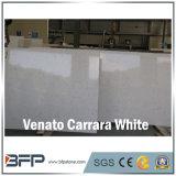 Laje branca artificial da parte superior da mesa redonda de quartzo de Venato Carrara