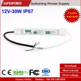 Fonte de alimentação impermeável IP67 do interruptor do diodo emissor de luz da tensão constante 12V 30W