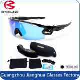 Hete Verkopende het Cirkelen van de Lens van het Frame van de Reeks UV400 Zwarte Waterdichte Beschermende brillen met 5 Verwisselbare Lenzen