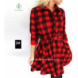 Explosion-Freizeit-Herbst-Fall-Frauen-Plaid gedrucktes Sprung-Hemd-Kleid