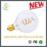 G30/G95 연약한 필라멘트 LED 전구 UL 열거된 옥수수 속 전구