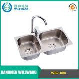 Wb2-808 dissipador de cozinha moldando dobro da bacia 1.2mm do aço inoxidável 304