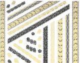 etiqueta do prego das etiquetas da arte do prego da água da flor do laço do preto do ouro 3D