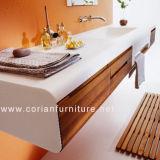 De nieuwe Houten Muur Corian van het Ontwerp hing de Ijdelheid van de Badkamers met Gootstenen