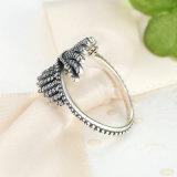 Anello dell'argento della piuma di Phoenix dell'argento sterlina 925 con l'anello di umore cubico libero dei monili dell'indennità di aggancio delle donne dell'anello
