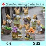 ハンドメイドの庭の装飾の樹脂のウサギの彫像