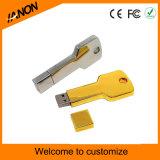 Glod e movimentação de prata do flash do USB da forma da chave de cor com impressão seu logotipo
