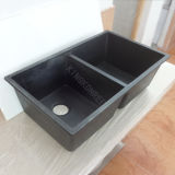 Upc Black Double Solid Surface Stone Kitchen Undermount Sink (S1704272)