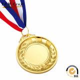 Médaille faite sur commande de ruban de bronze d'or de récompense d'honneur de sport avec des bandes