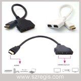 Linha de distribuição de vídeo HDMI em dois switches Splitter Hub