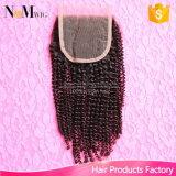 Fermeture bouclée crépue mongole indienne non transformée de perruque de lacet de cheveux humains de Vierge de 100%
