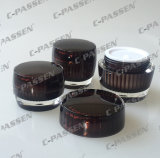 Frasco de creme acrílico de cristal novo de Brown para o empacotamento do cosmético (PPC-ACJ-067)