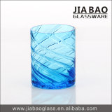 Taza ondulada azul del vidrio de cal sodada de la venta caliente