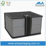 Le cube a formé le cuir comme la fin de luxe noire d'aimant de cadre de montre avec la garniture intérieure d'EVA