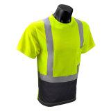 면과 폴리에스테의 사려깊은 t-셔츠를 경고하는 까만 높 시정 안전