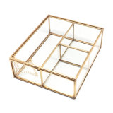 Rectángulo de empaquetado cortado metal de cobre amarillo de oro de la joyería de cristal