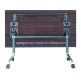 Складывая квадратная деревянная таблица с колесами и стальными ногами (SP-FT406)