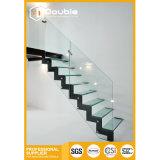 Escalera recta de cristal con la pisada laminada del vidrio Tempered/la pisada del roble