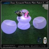 Moderno PE Material Mesa de café al aire libre de los muebles del LED