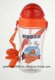 la bottiglia di sport di 450ml Plasitc scherza la bottiglia di acqua con paglia, bottiglia di acqua blu di colore