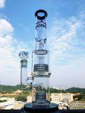 Doppelter Matrix Perc Showerhead-buntes rauchendes Wasser-Glasrohr