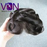 Da forma natural humana brasileira do cabelo de 100% Toupee suíço do cabelo do laço mono