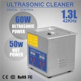 Aço inoxidável 1.3 litro líquido de limpeza ultra-sônico da jóia
